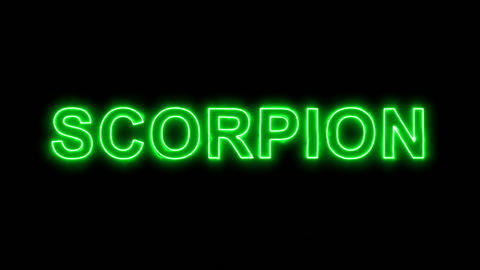 Neon flickering green constellation of a SCORPION in the haze. Alpha channel Animation