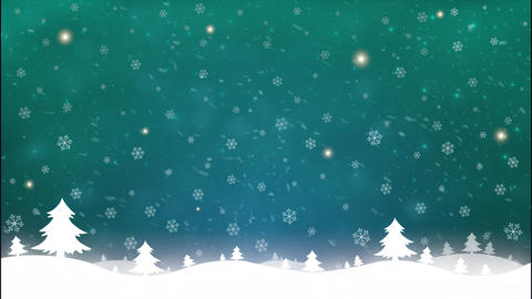 Merry Christmas and New Year motion green snow star background on green sky Live Action
