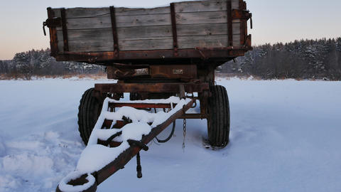 Old tractor wagon. Winter Footage