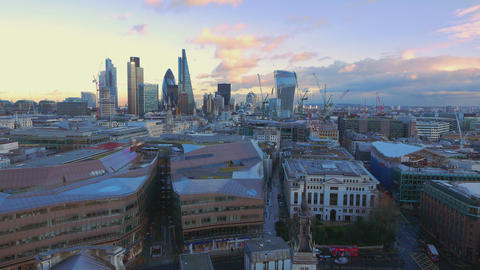 Aerial view over the City of London Live Action