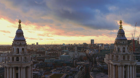 Wonderful London aerial view - over the rooftops of London Live Action