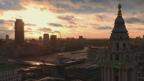 London at sunset - amazing aerial shot Live Action