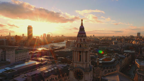 Amazing sunset over London - view from above Live Action