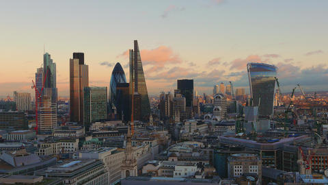 The skyscrapers of London - Financial district at sunset Live Action