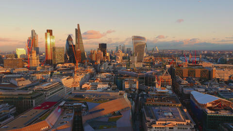City of London - aerial shot from above at sunset