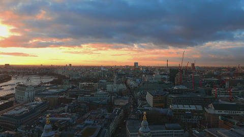 London from above in the evening - great sky Live Action
