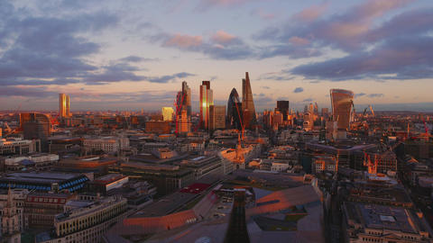 The City of London from above in the evening Live Action