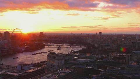 Beautiful sunset over London skyline Live Action