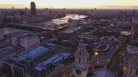London from above in the evening Live Action