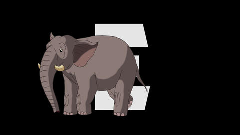 Letter E and D Elephant (foreground) Animation