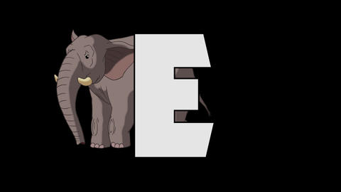 Letter E and Elephant (background) Animation