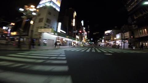 Driver's POV nightscape through Kaminarimon and arcade in Asakusa Footage
