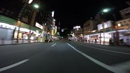 Driver's POV nightscape through Kaminarimon and arcade in Asakusa Footage