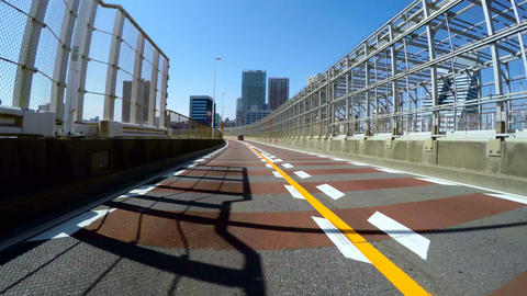 Driver's POV Through The Highway Bridges In Central Tokyo On A Sunny Blue Day stock footage