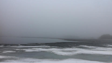 Foggy morning over spring lake 2 Footage