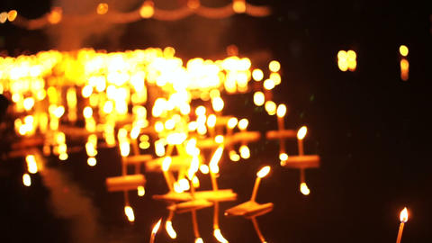 Loi Krathong Festival in Chiangmai, Thailand. Thousand of floating decorated Footage