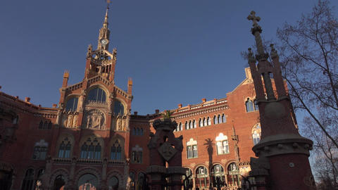 Hospital de Sant Pau at evening, low angle slide shot, long camera motion Footage