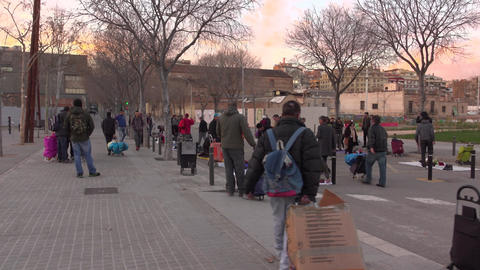 Illegal spontaneous market at desolate city street, migrant sellers crowd Footage