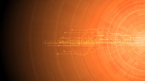 Bright orange gear, circuit board and arrows tech video animation Animation
