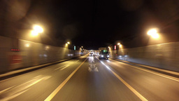 Rear view from a running SUV around the evening skies of Tokyo's suburban area Live Action
