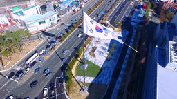 Aerial View of South Korean flag waing in wind , Busan , South Korea, Asia Live Action