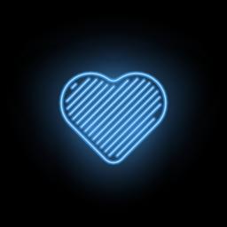 Vector Neon Heart. Silhouette of Blue Heart Vector