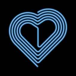 Vector Neon Heart, Neon Silhouette of Blue Heart Vector