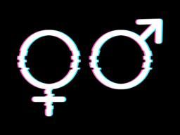 White Gender Symbols in Glitch Style Vector