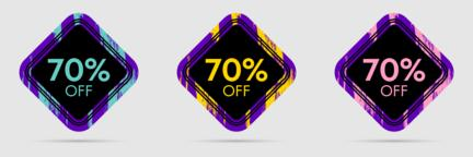 70% Off Discount Sticker. 70% Off Sale and Discount Price Banner Vector