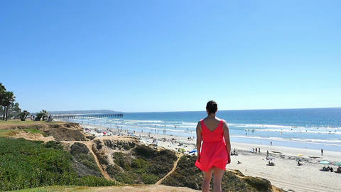 Video of woman in Pacific Beach in San Diego in slow motion Footage