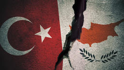 Turkey vs Southern Cyprus Flags on Cracked Wall Animation