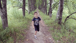 Portrait. A happy beautiful little boy running through the park jumping and Footage