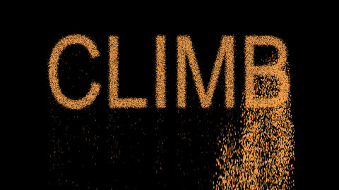 text CLIMB appears from the sand, then crumbles. Alpha channel Premultiplied - Animation