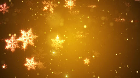 Snow falls and decorative snowflakes. Winter, Christmas, New Year. Warm colors. Animation