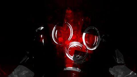 Red Gas Mask and Biohazard Sign Animación
