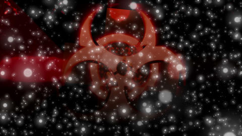 White Particles and Red Biohazard Sign Animation