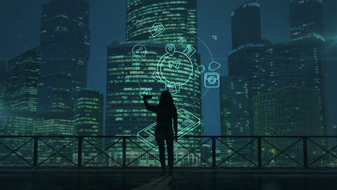 Girl does selfie on a background of skyscrapers and social media infographics Animation
