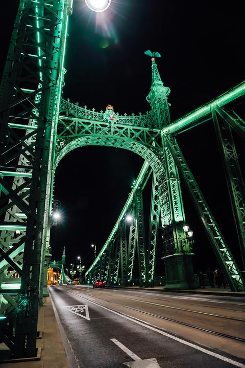 Old Iron Bridge across the Danube River in Budapest Photo