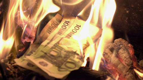 Video of burning money in real slow motion Footage