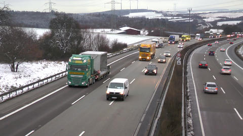 Dense traffic on highway in the winter - high-angle view Live Action