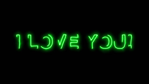 Neon flickering green common expression I LOVE YOU! in... Stock Video Footage