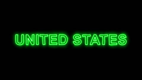 Neon flickering green state UNITED STATES in the haze. Alpha channel Animation