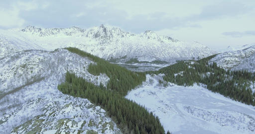 Winter landscape over mountain range in Norway lofoten Footage