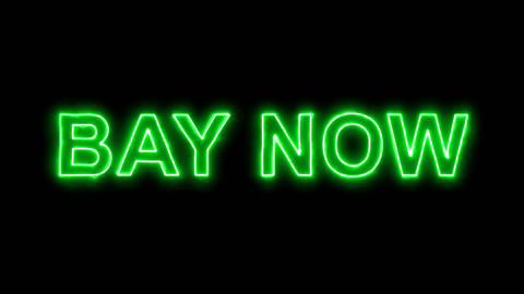 Neon flickering green text BAY NOW in the haze. Alpha channel Premultiplied - Animation