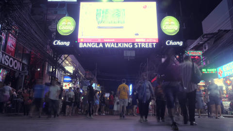 Timelapse: People Walking at Bangla Road - Famous Sex Tourism Street in Phuket Footage
