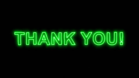 Neon flickering green common expression THANK YOU! in the haze. Alpha channel Animation