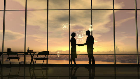 Business partners shake hands on the background of corporate infographics Animation