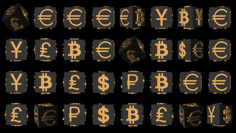 luxury stylish money background. rotating cubes. gold icons of world currencies Footage