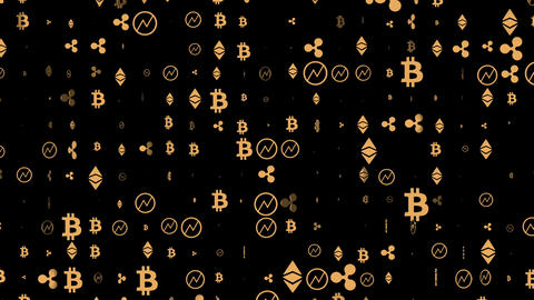 Brownian motion. icons of world crypto currencies. economic business background Live Action