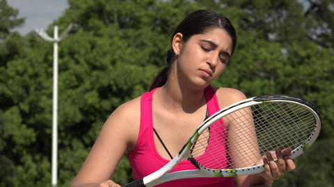 Serious Athletic Female Teenage Tennis Player Live Action